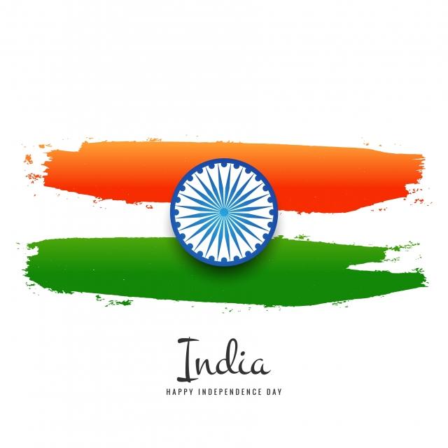 Grunge Brush Stroke With India National Flag Design.