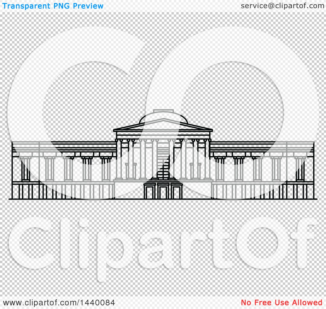 Clipart of a Black and White Line Drawing of the National Gallery.