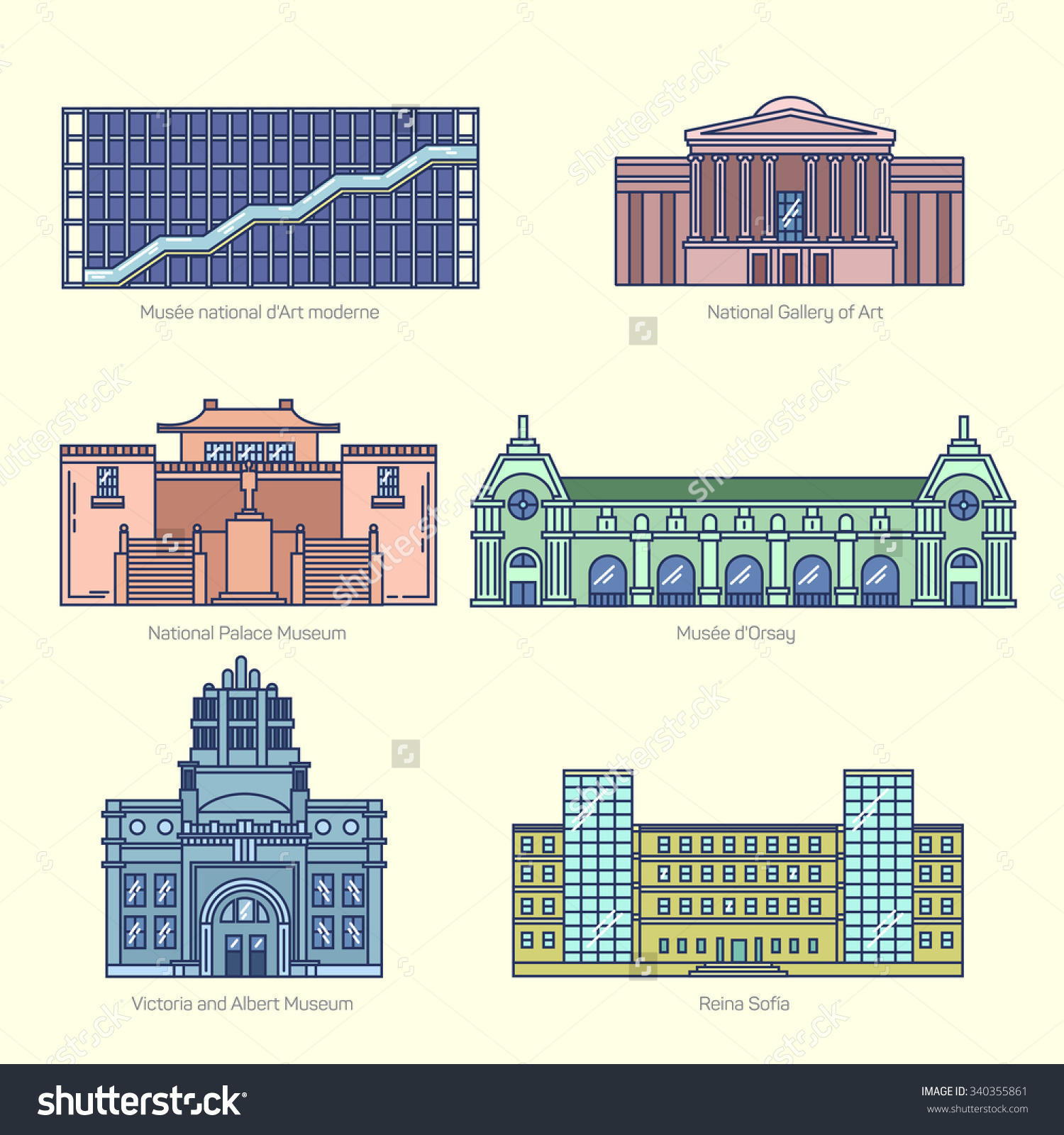 Monuments Thin Line Vector Icons National Stock Vector 340355861.