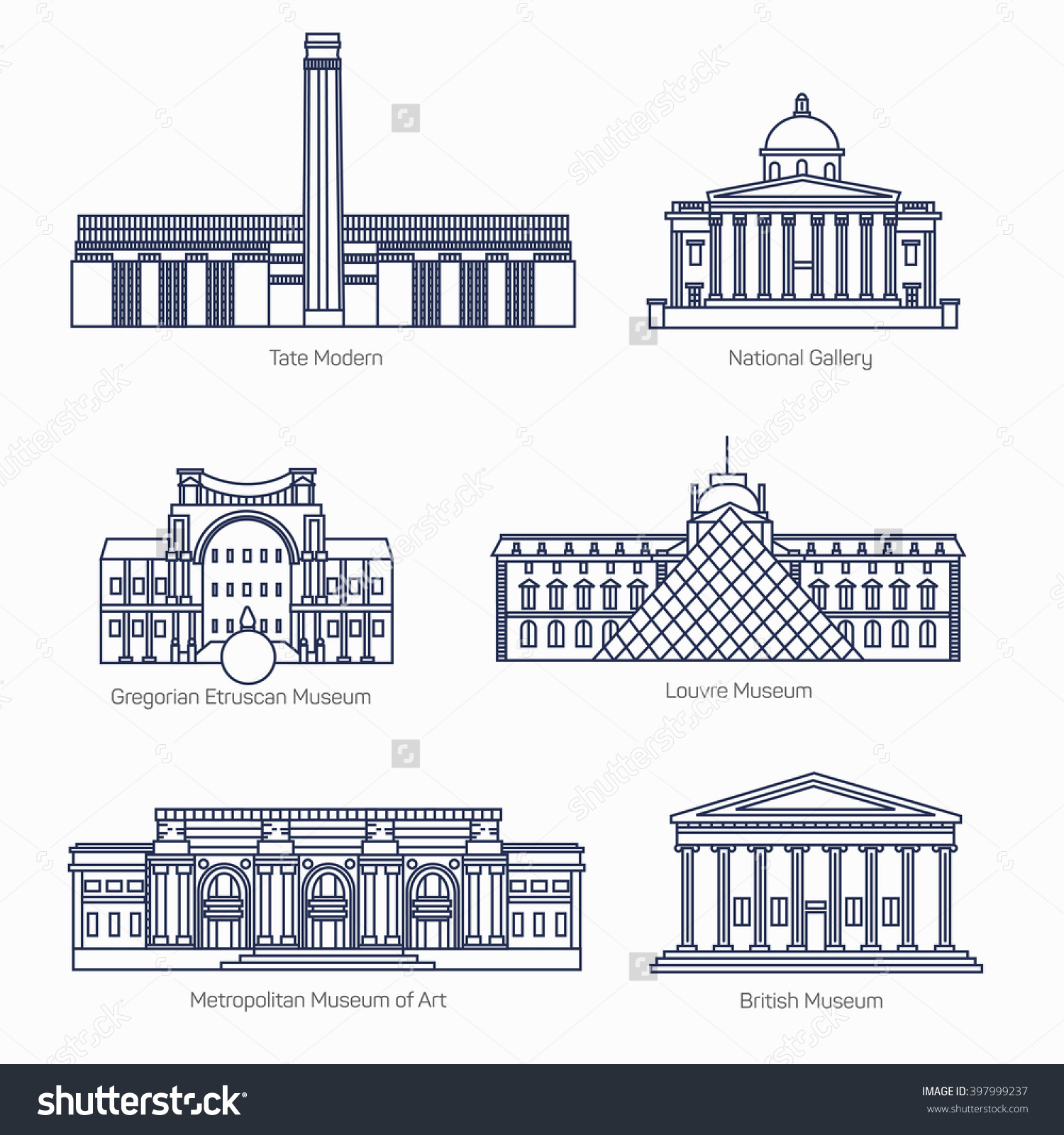 Monuments Thin Line Vector Icons Tate Stock Vector 397999237.