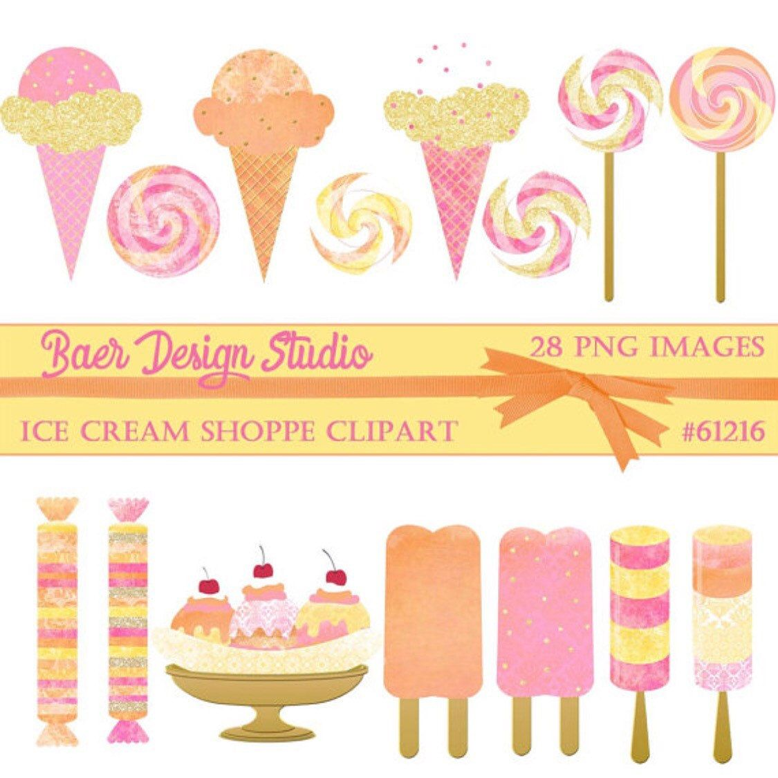 Ice Cream Cone Clipart, Lollipop Digital Clip art.