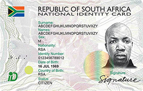 South African identity card.
