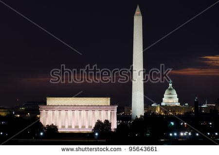 Washington Dc Skyline Sunrise Including Lincoln Stock Photo.
