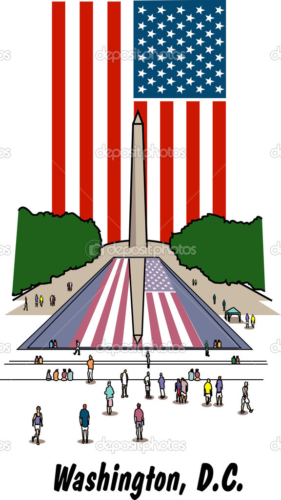 The American Flag And Washington Monument — Stock Vector.