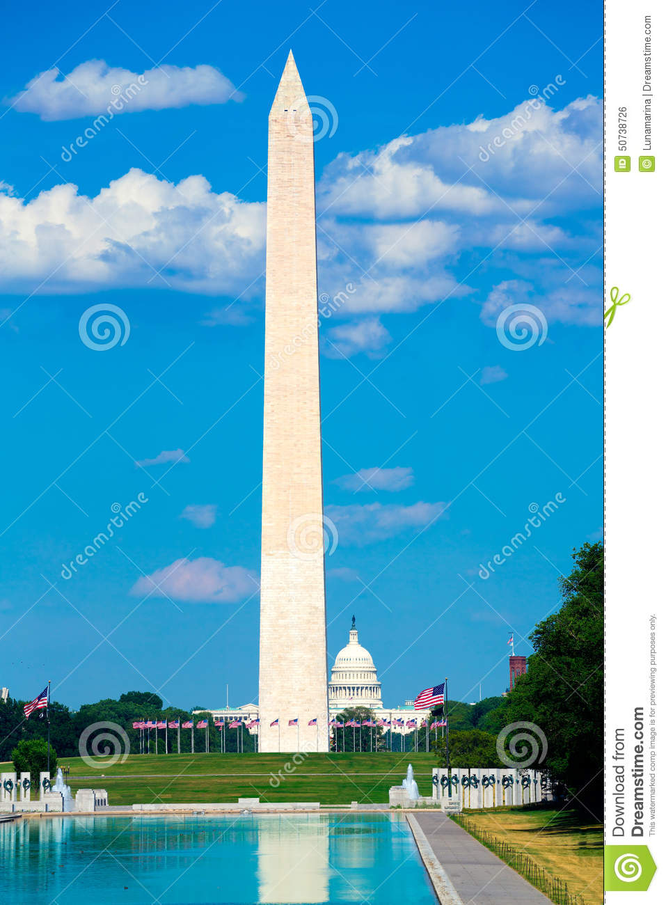 Washington Monument Reflecting Pool In National Mall US Stock.