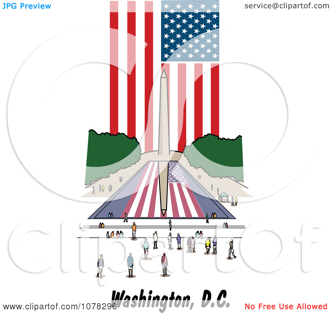 Clipart The American Flag And Washington Monument Reflecting In.