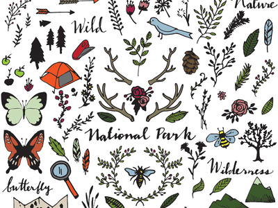 National Park Drawings Clipart by Alexis Rawlins.