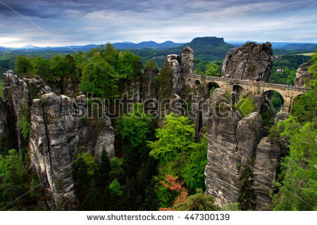 Bastei Bridge Saxon Switzerland Autumn Germany Stock Photo.