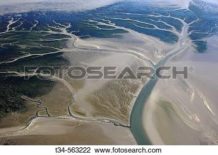 Stock Photo of Tidal Creeks. Wadden Sea National Park. North Sea.