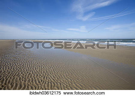 "Stock Image of ""Beach at low tide, Lower Saxon Wadden Sea National."