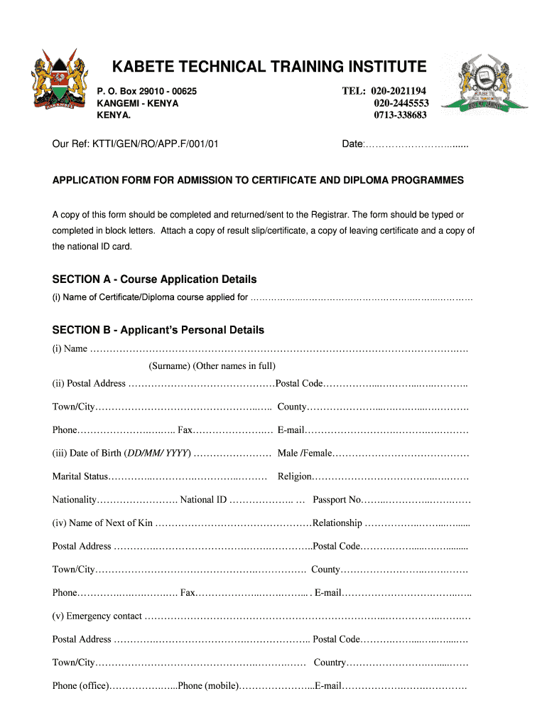 Kabete Technical Training Institute Application Form Pdf.
