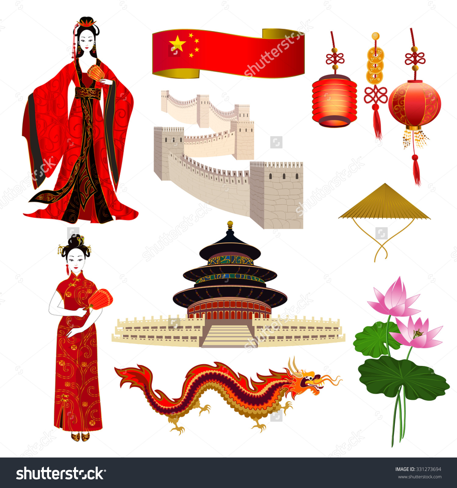 National Symbols China Chinese Women Red Stock Vector 331273694.
