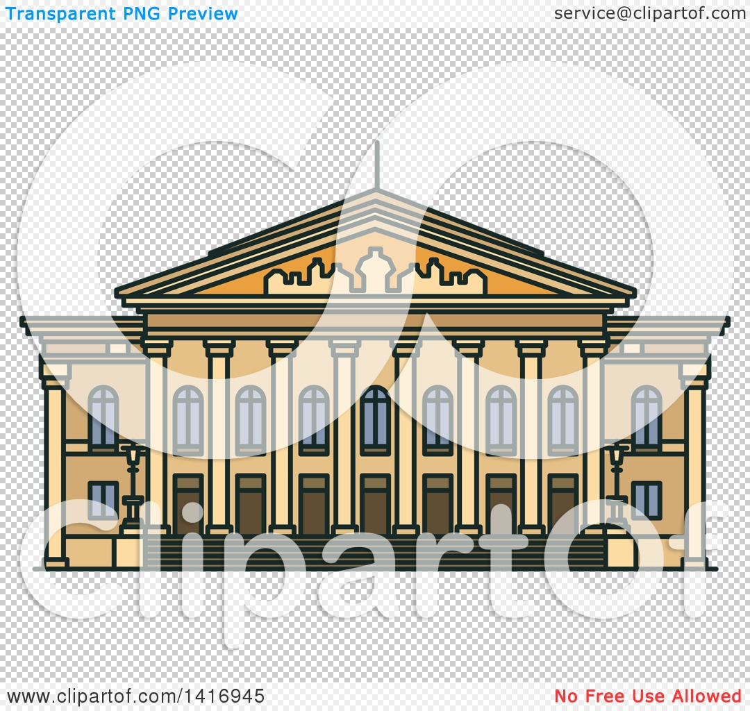 Clipart of a Sketched German Landmark, National Theatre.