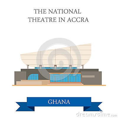 The National Theatre In Accra Ghana Stock Vector.