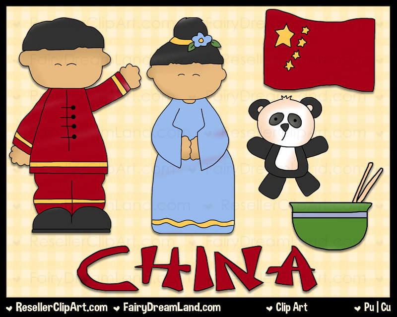 Chinese Kids Digital Clip Art Commercial Use Graphic Image.