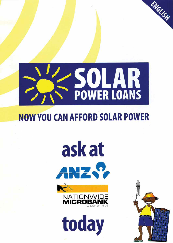 A solar power loans brochure from ANZ and nationwide.