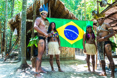 Native Brazilian Women At An Indigenous Tribe In The Amazon Stock.