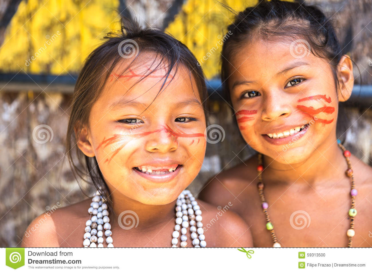 Native Brazilian Girls At An Indigenous Tribe In The Amazon Stock.
