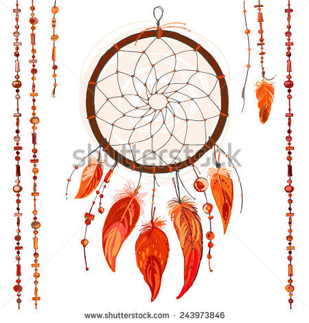 Dreamcatcher Feathers Beads Native American Indian Stock Vector.