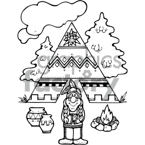 black and white native american vector art clipart. Royalty.