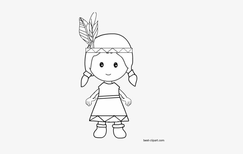 Black And White Native American Girl Clip Art.