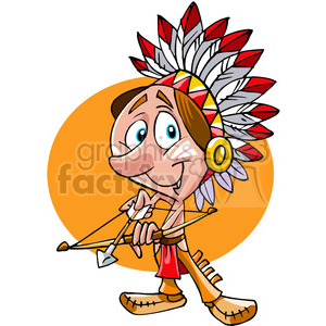Native American guy bow and arrow cartoon clipart. Royalty.