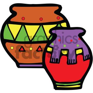 cartoon native american pottery vector clipart. Royalty.