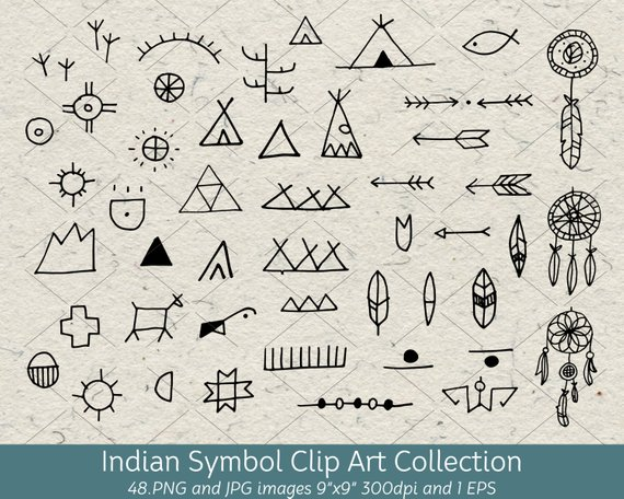 Hand Drawn Doodle Native American Indian Symbol Clip Art.