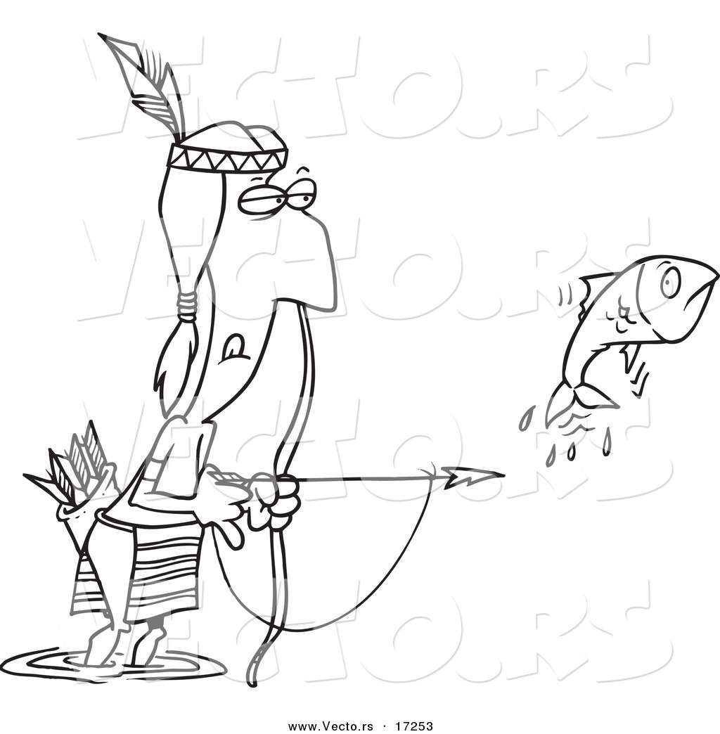 Vector of a Cartoon Native American Man Bow Fishing.