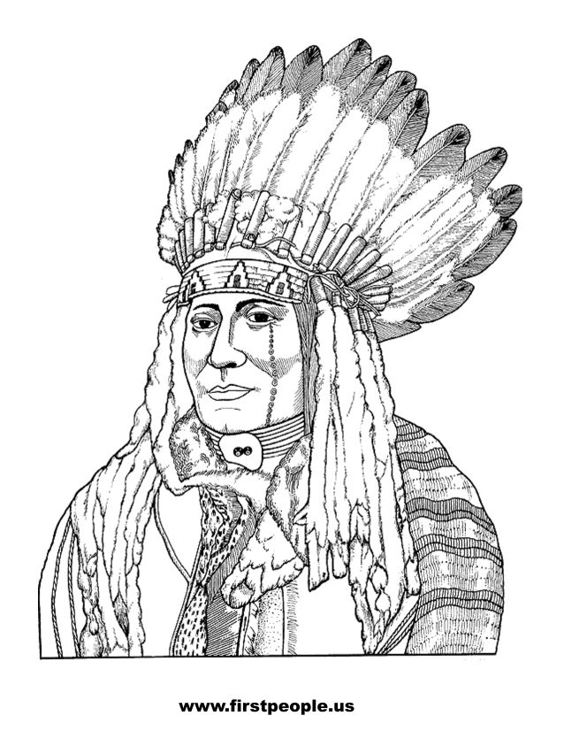 Native American clipart to color in.