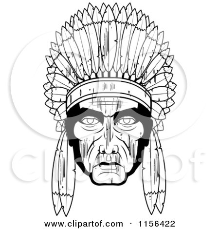 Cartoon Clipart Of A Black And White Chubby Native American Woman.