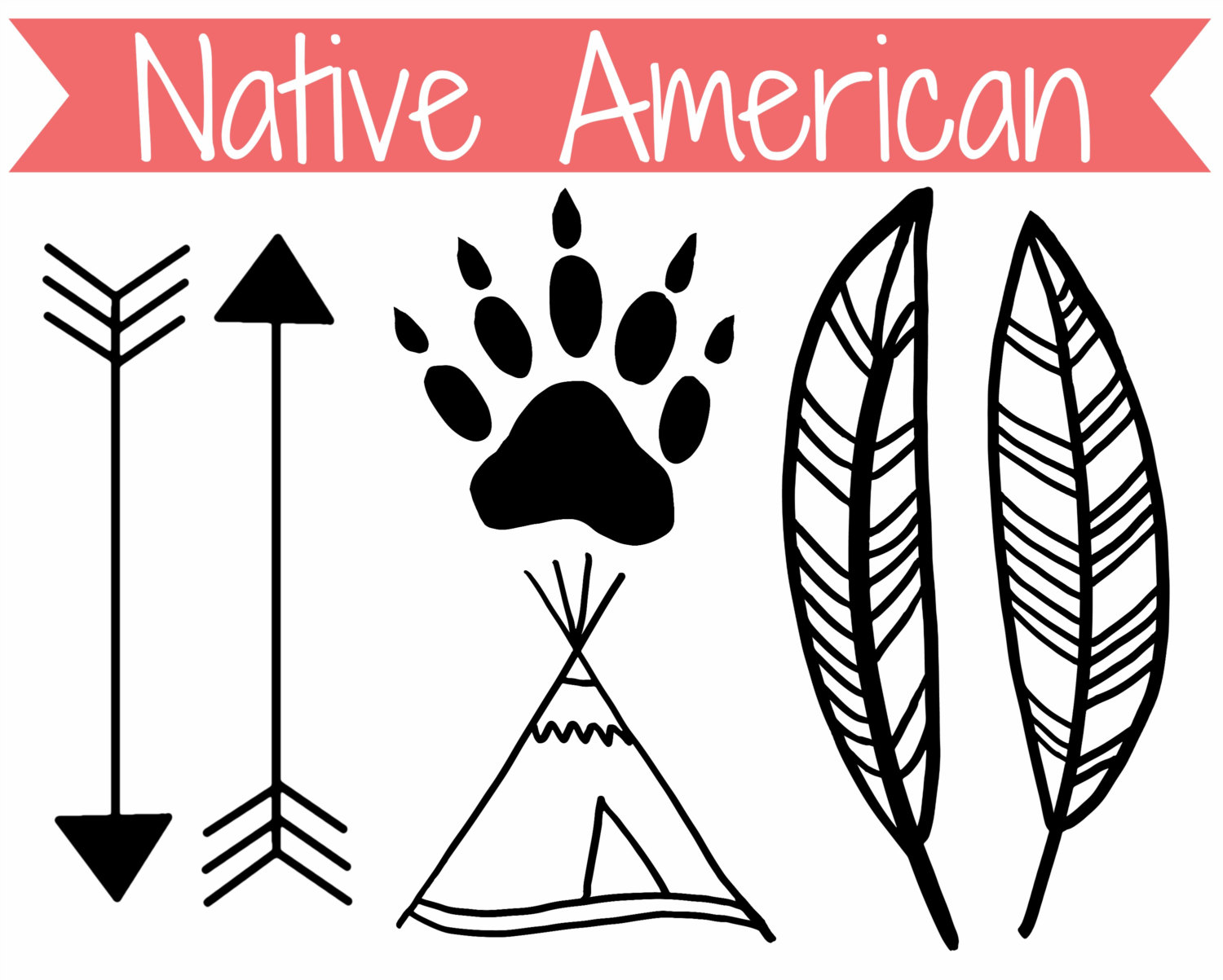Native american clipart black and white.