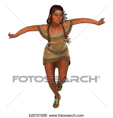 Dancing Native American Woman Clipart.