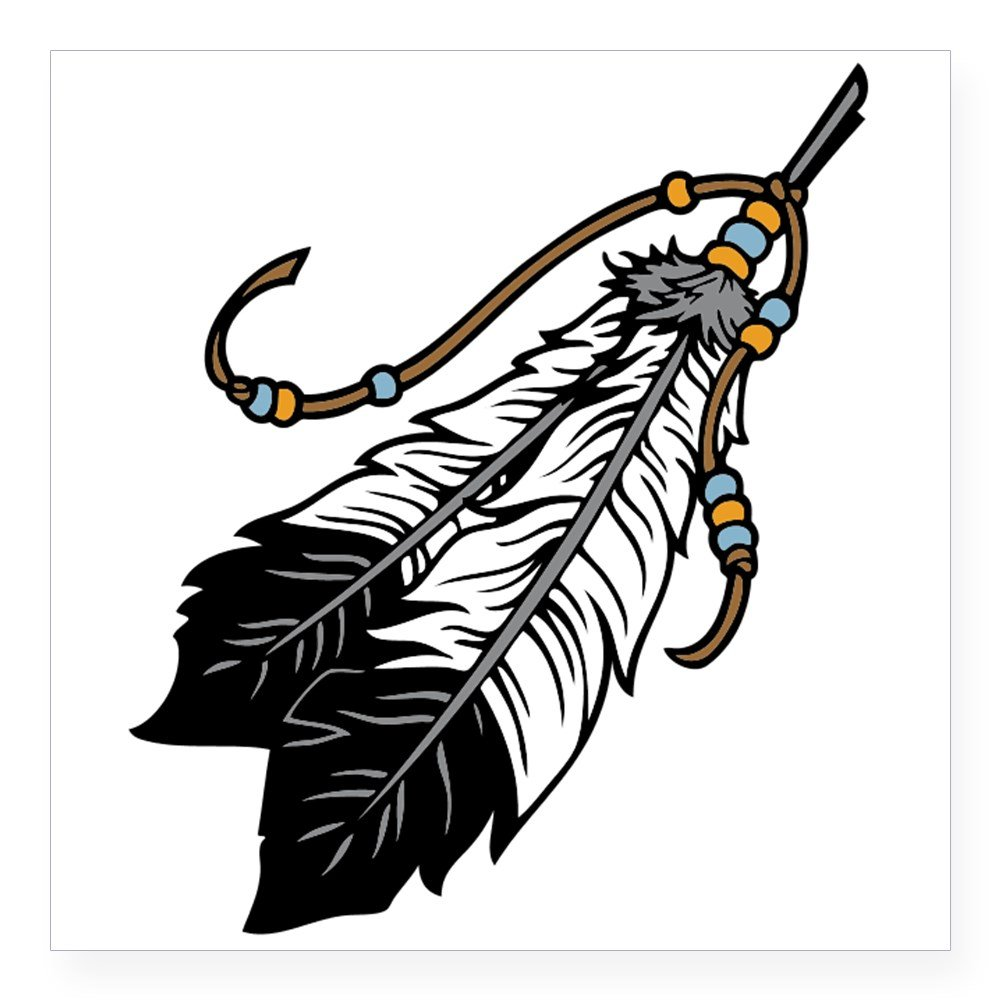 CafePress Native American Feathers Sticker Square Bumper Sticker Car Decal,  3\
