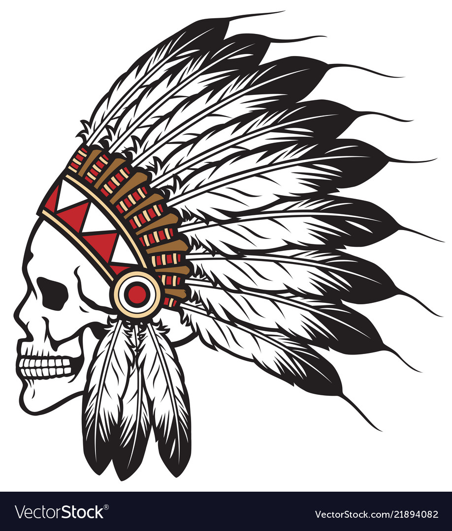 Native american indian chief skull.