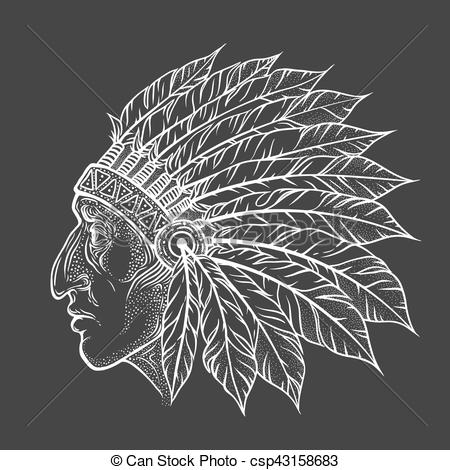 Native American Indian chief head profile. Vector vintage illustration.  Hand drawn style. Bohemian element. Tattoo.
