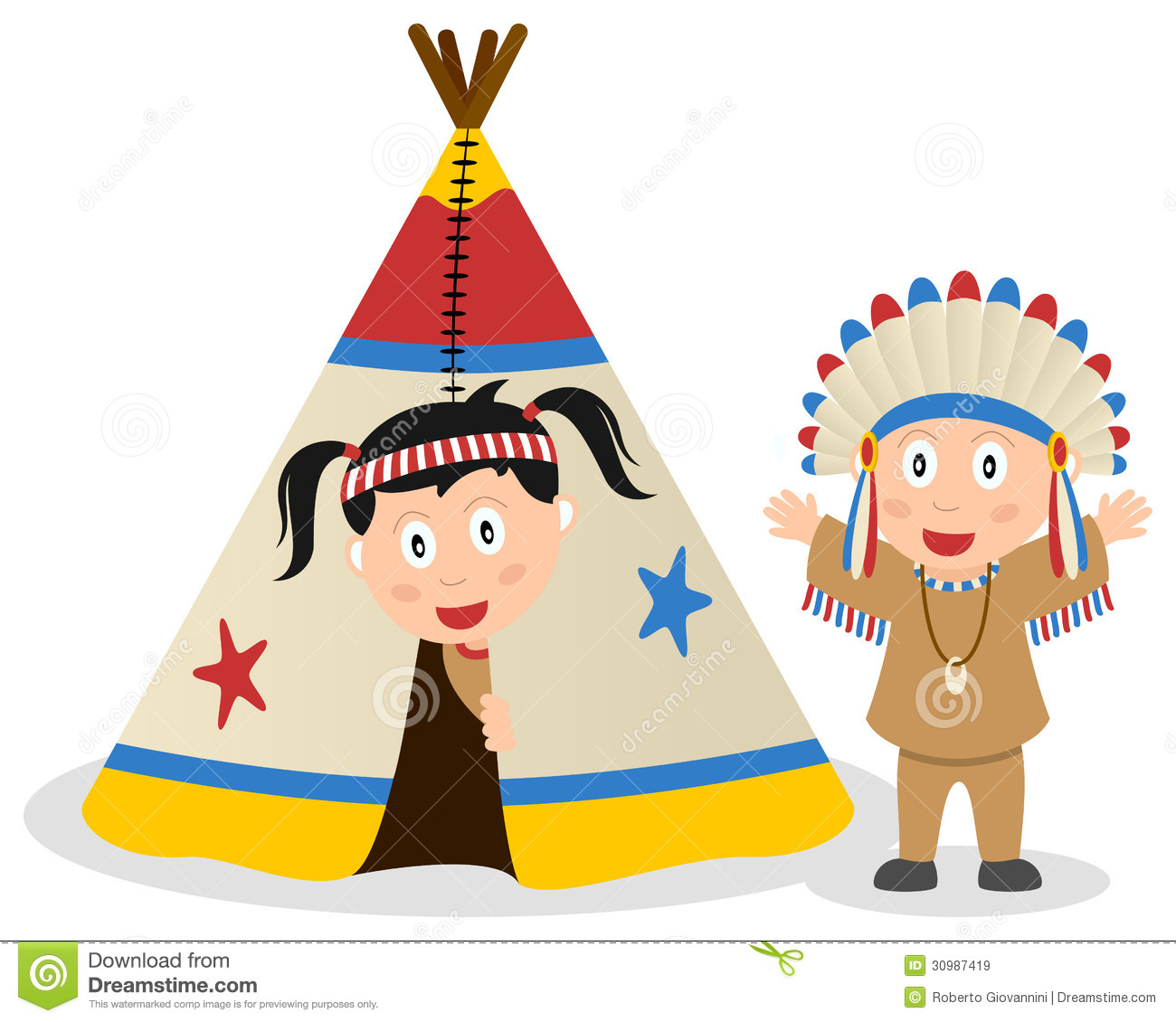 American Indians And Tepee Royalty Free Stock Images.