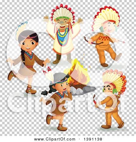 Clipart of Native American Children Around a Fire.