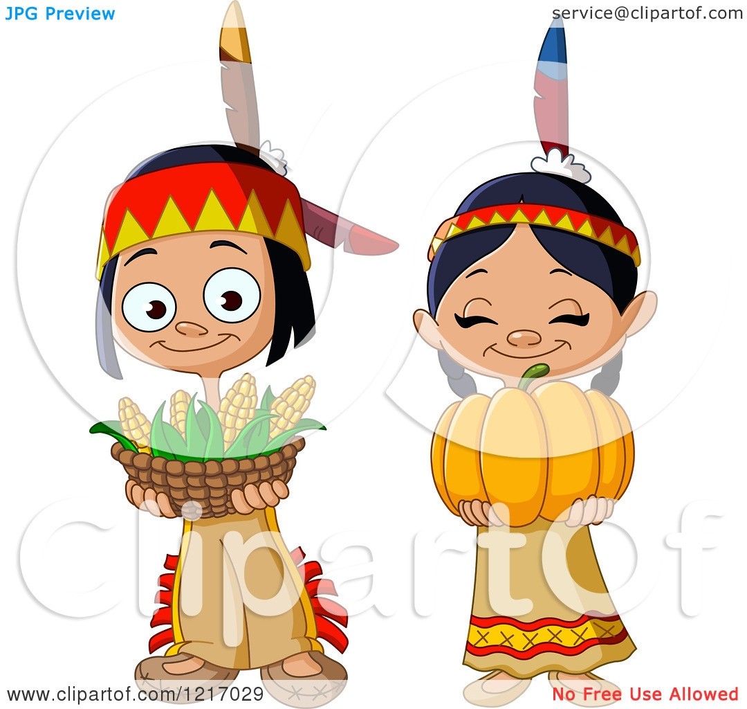 Native American Children Clipart.