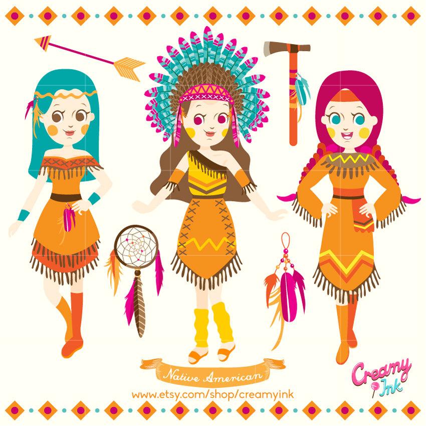 Indian Girls Digital Vector Clip art / Tribal Ethnic Clipart.