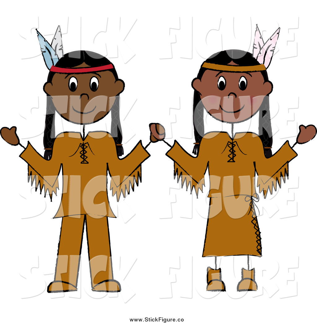 Royalty Free Stock Stick Figure Designs of Native Americans.