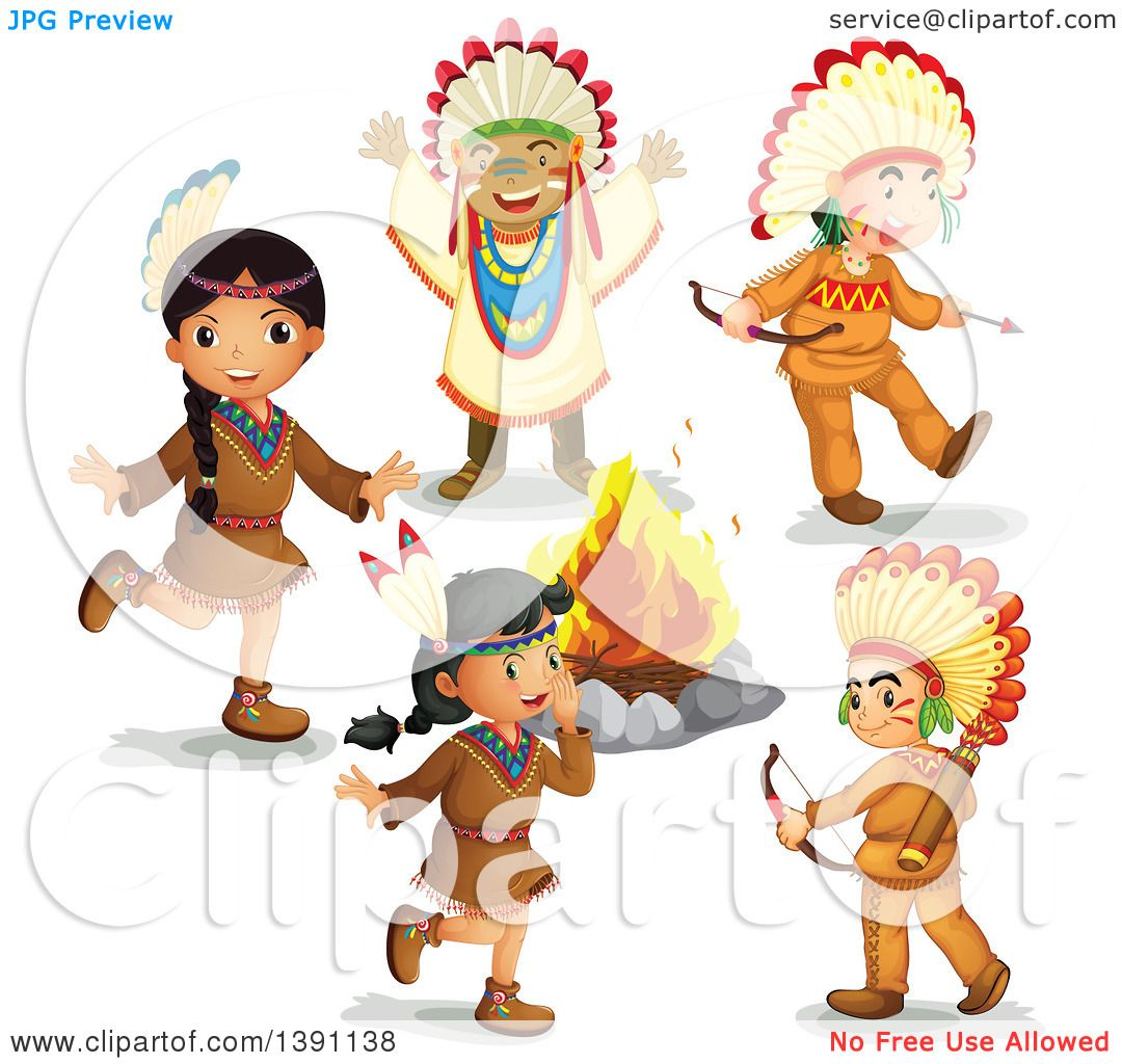 native american kids clipart #11