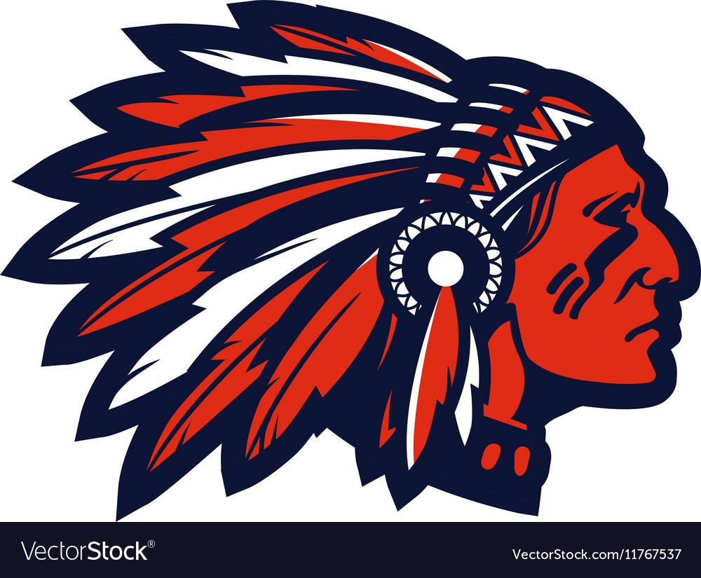 American native chief head mascot logo or.