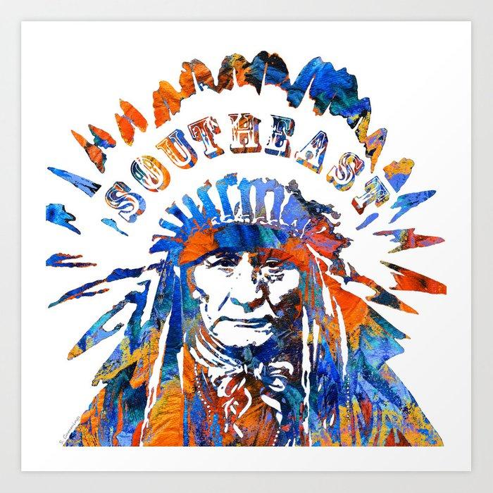 Southeast Native American Logo Design by Sharon Cummings Art Print by  sharoncummings.