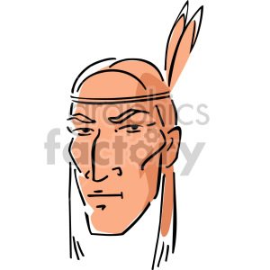 Native American man clipart. Royalty.