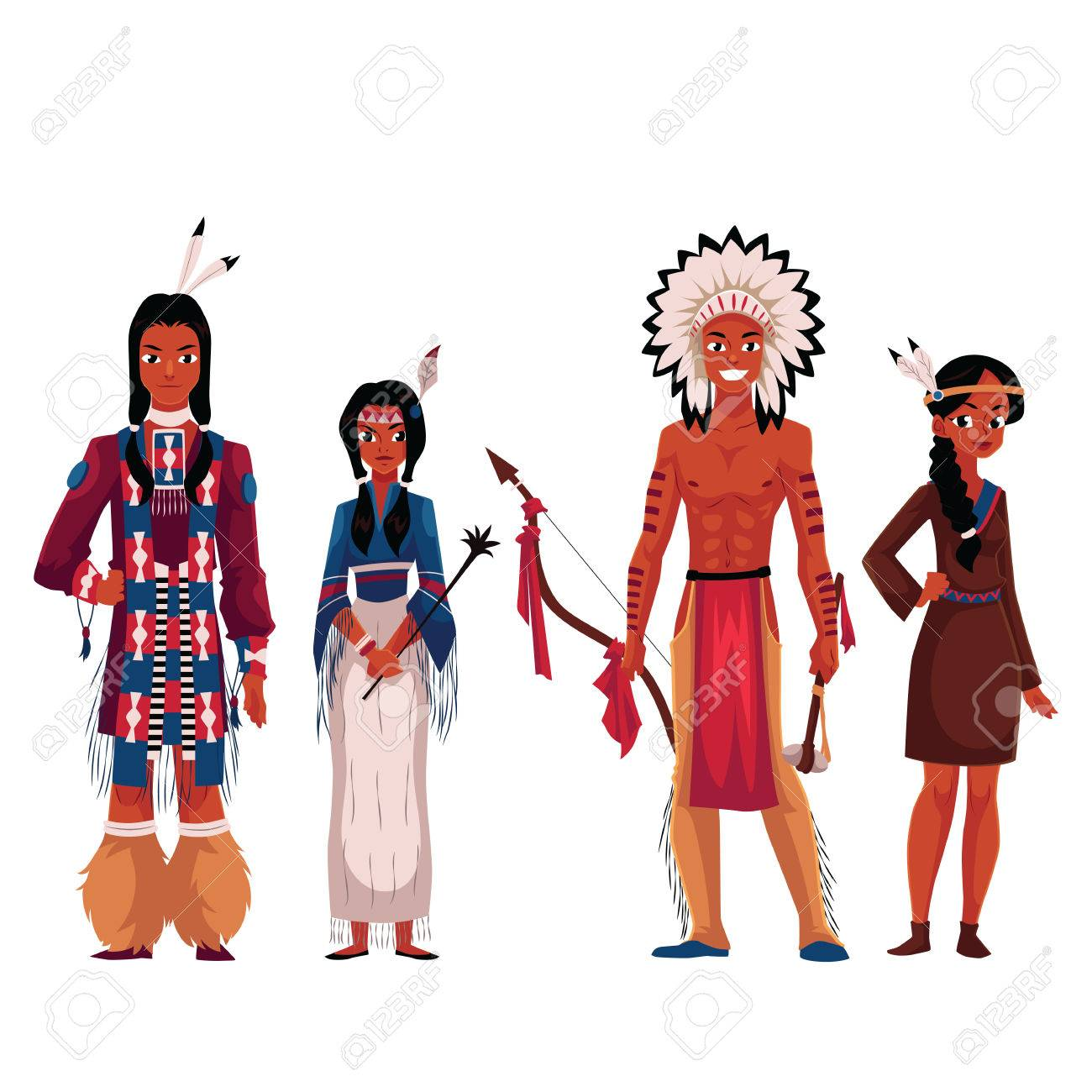 Set of native American Indians, men and women, in traditional...