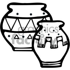 black white native american pottery clipart. Royalty.