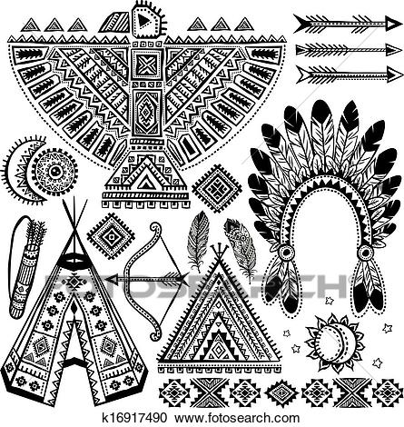 Tribal native American set of symbols Clipart.