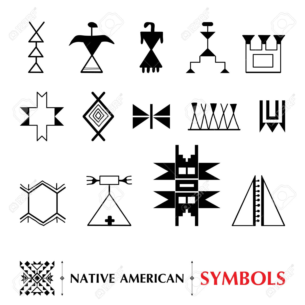 collection with Native American symbols isolated on white background.