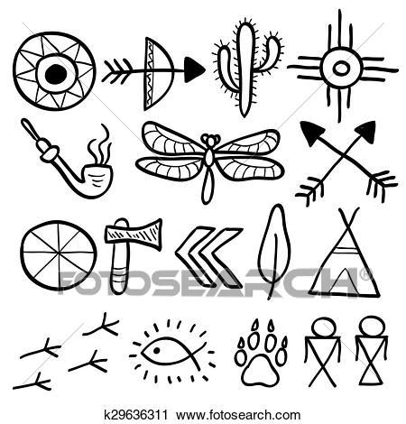 Hand drawn doodle vector native american symbols set Clipart.